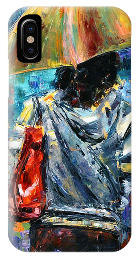Street Scent IPhone X Case featuring the painting Rainy Day People #3 by Debra Hurd