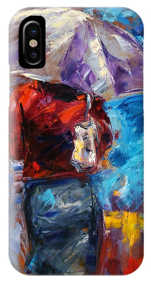 Rainy IPhone X Case featuring the painting Rainy Day People by Debra Hurd