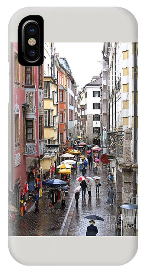 Innsbruck IPhone X Case featuring the photograph Rainy Day Shopping by Ann Horn