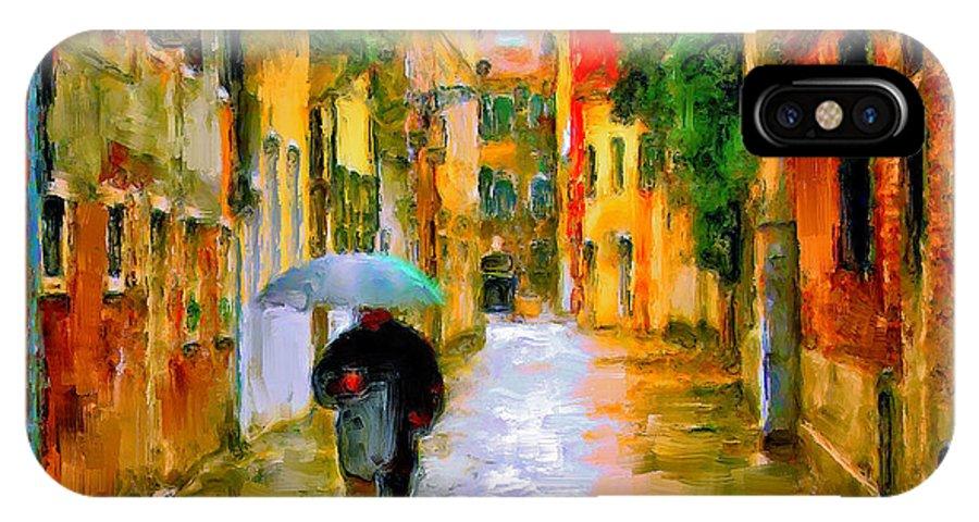 Venice IPhone X Case featuring the digital art Rainy Walk In Venice by Yury Malkov