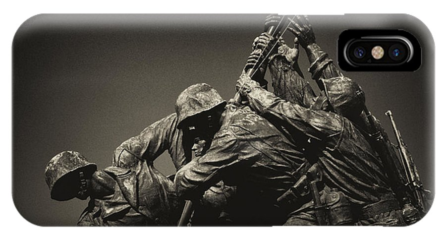 Marines IPhone X Case featuring the photograph Raising The Flag On Iwo by Paul W Faust - Impressions of Light