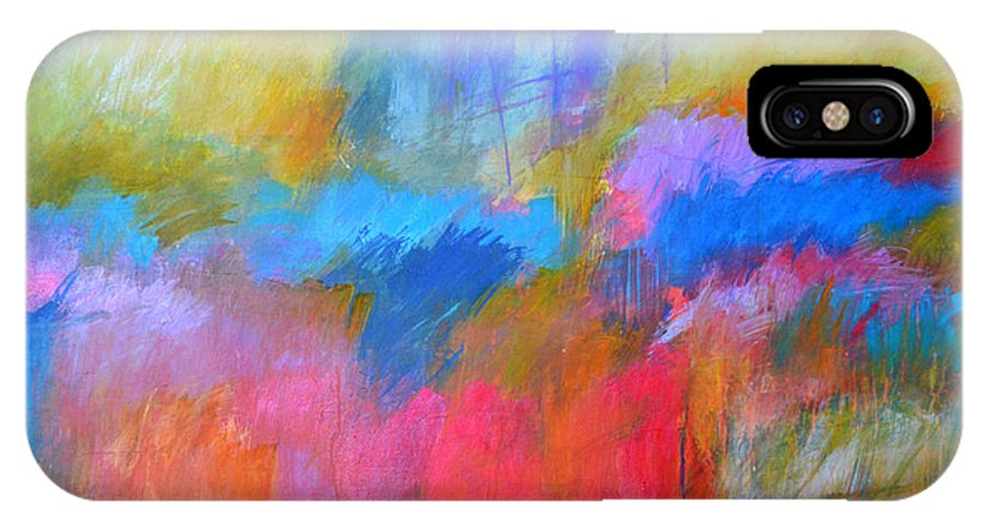 Abstract IPhone X Case featuring the painting Random Acts Of Color by Filomena Booth