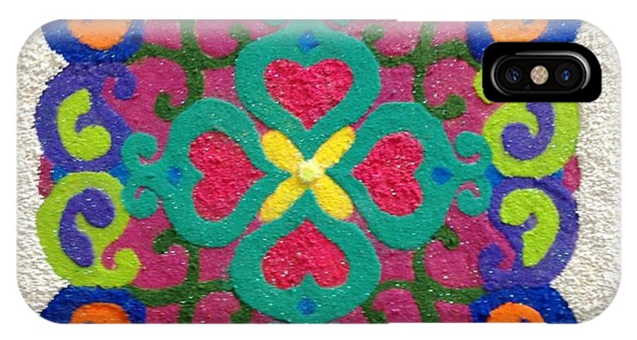 Rangoli IPhone X Case featuring the mixed media Rangoli Made With Powder Colour by Asha Aditi Ruparelia
