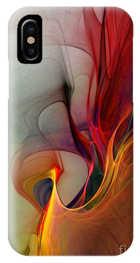 Abstract IPhone X Case featuring the digital art Rapture Of The Deep-abstract Art by Karin Kuhlmann