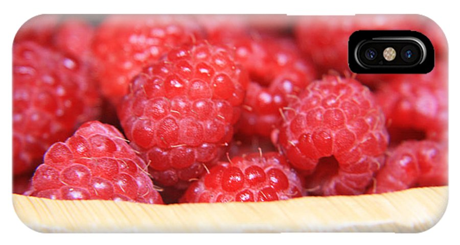 Raspberry IPhone X / XS Case featuring the photograph Raspberries In A Basket by Lali Kacharava