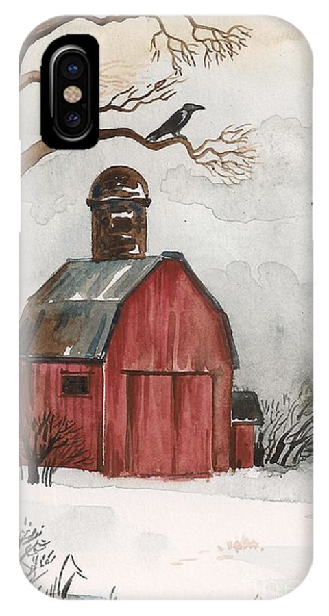 Print IPhone X Case featuring the painting Raven And The Red Barn by Margaryta Yermolayeva