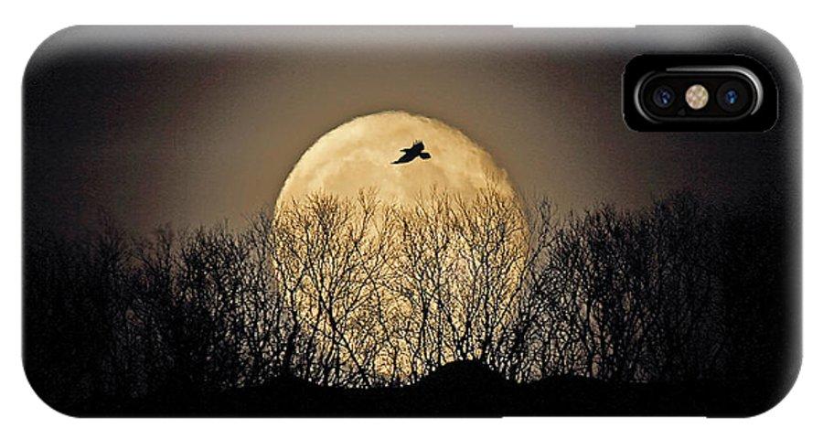 Raven IPhone X Case featuring the photograph Raven Moon by Pekka Sammallahti