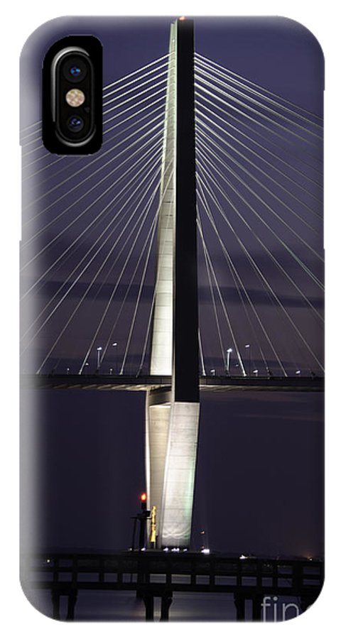 Bridge IPhone X Case featuring the photograph Ravenel Bridge Night View by Dale Powell