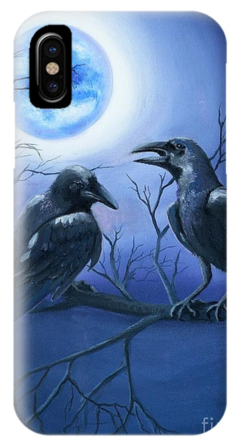 Ravens IPhone X Case featuring the painting Raven's Moon by Lora Duguay