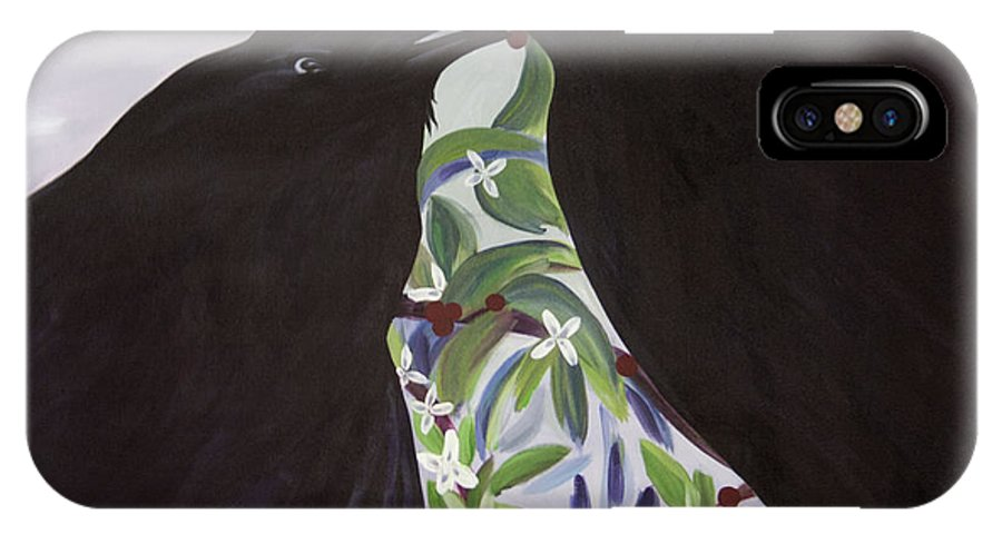 #raven IPhone X Case featuring the painting Ravens Song by Jacquelinemari
