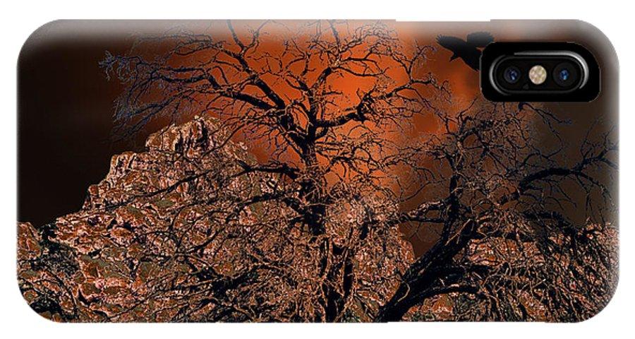 Oak Tree IPhone X Case featuring the digital art Ravens Tree by Sandra Selle Rodriguez