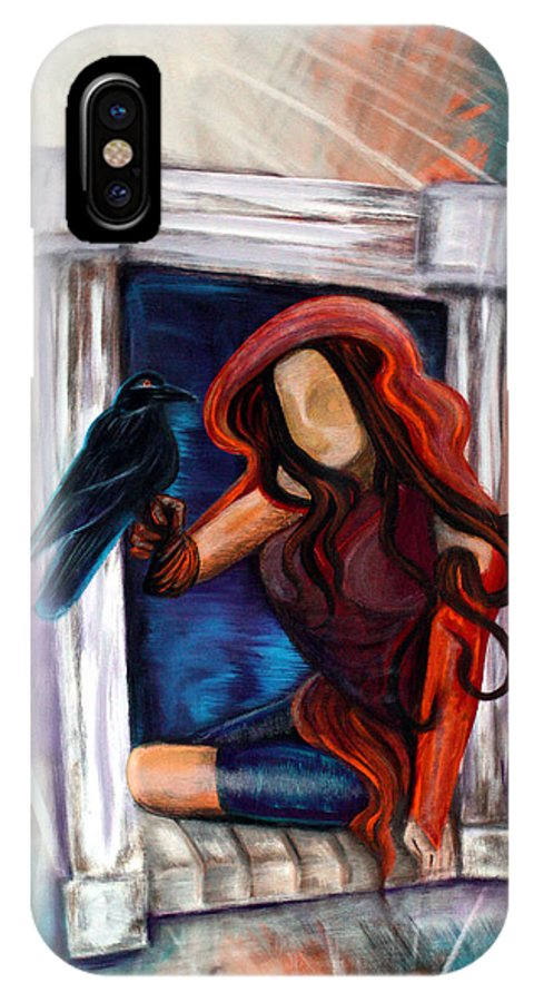 Raven IPhone X Case featuring the painting Raven's Wish by Laura Barbosa