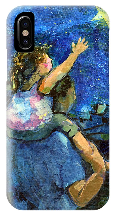 Jen Norton IPhone X Case featuring the painting Reach For The Stars by Jen Norton