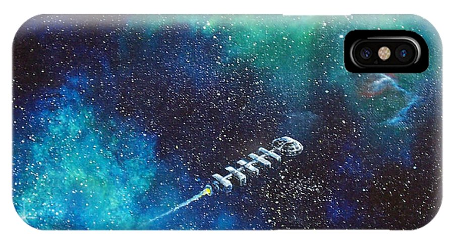 Spacescape IPhone X Case featuring the painting Reaching Out by Murphy Elliott