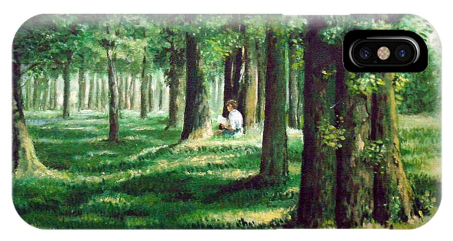 Landscape. IPhone X Case featuring the painting Reader In The Park by Laila Awad Jamaleldin