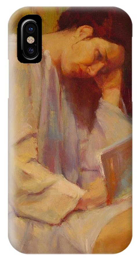 Figure IPhone X Case featuring the painting Reading In The Blue Robe by Irena Jablonski
