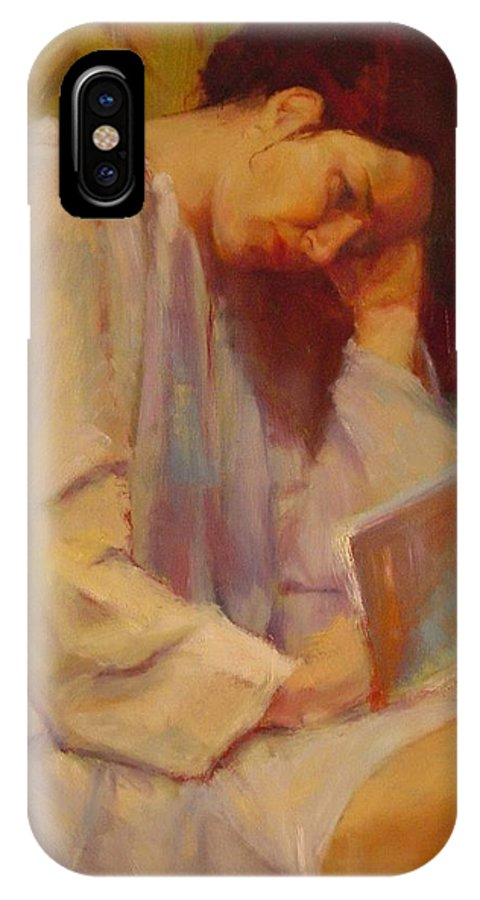 Figure IPhone X / XS Case featuring the painting Reading In The Blue Robe by Irena Jablonski