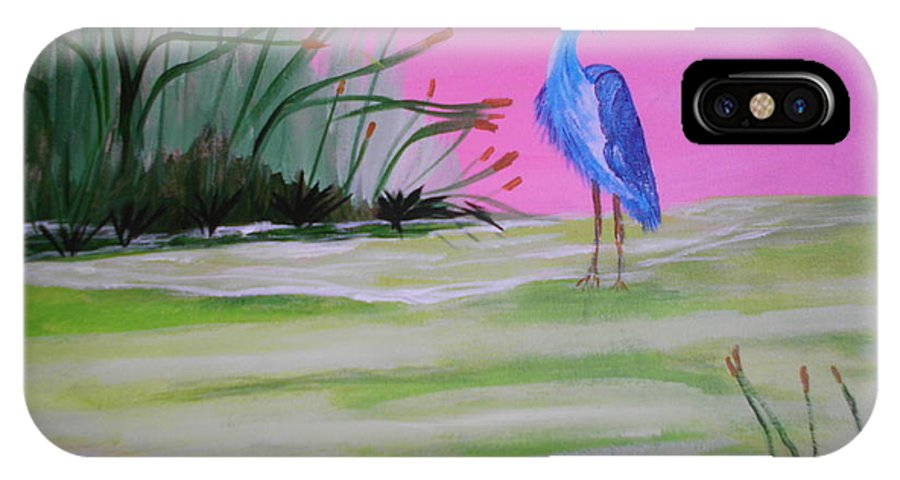 Heron IPhone X Case featuring the painting Ready For Take Off by Linda Bright Toth
