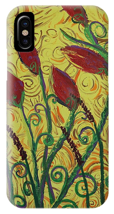 Squigglism IPhone X Case featuring the painting Ready To Bloom by Stefan Duncan