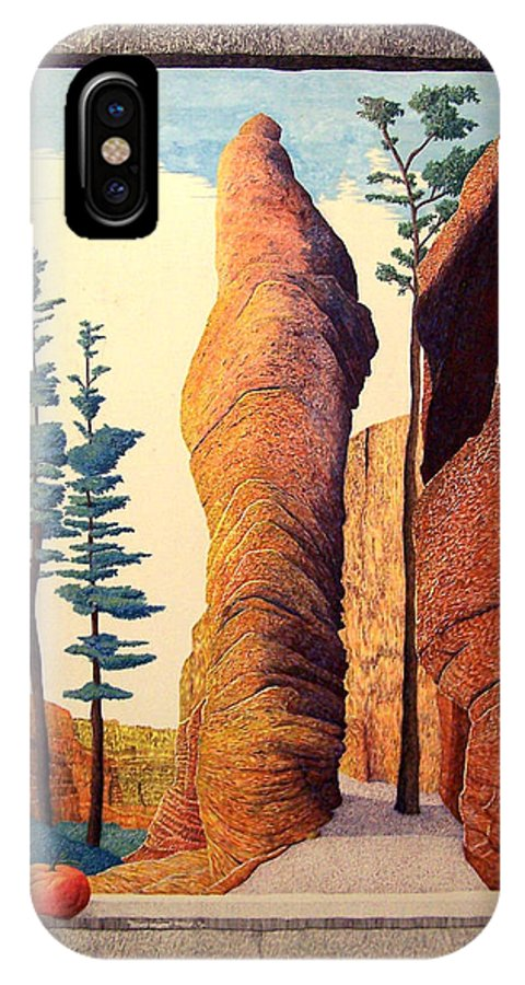 Landscape IPhone X Case featuring the painting Reared Window by A Robert Malcom