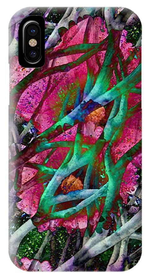 Abstract IPhone X Case featuring the digital art Rebirth by Yael VanGruber