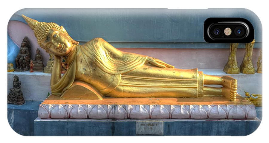 Michelle Meenawong IPhone X Case featuring the photograph reclining Buddha by Michelle Meenawong