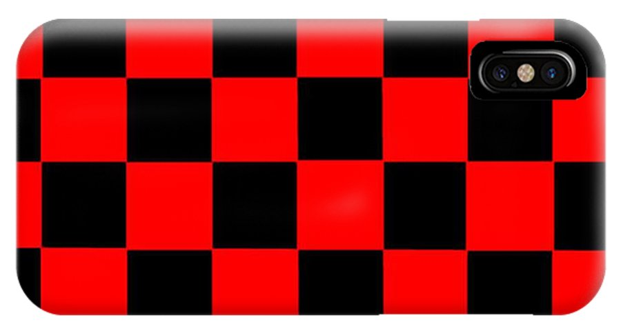 Red IPhone X Case featuring the digital art Red And Black Checkered Flag by Frederick Holiday