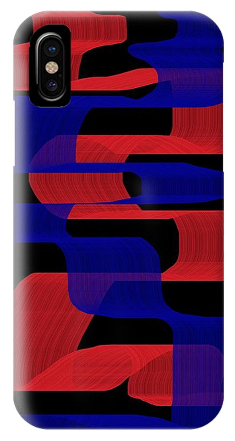 Red IPhone X Case featuring the digital art Red And Blue Ribbons by Jeff Gater