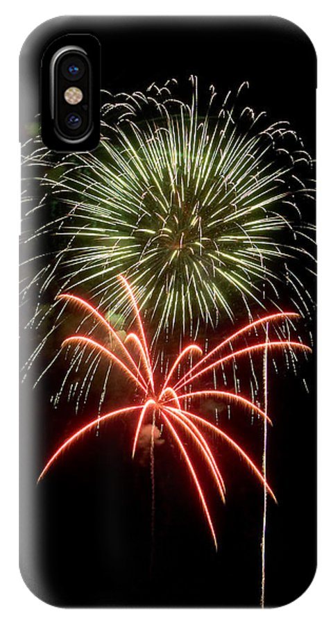 Fireworks IPhone X Case featuring the photograph Red And Green by Devinder Sangha