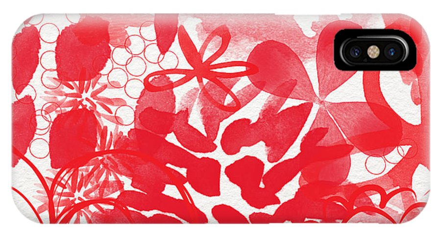 Red Flowers IPhone X / XS Case featuring the painting Red And White Bouquet- Abstract Floral Painting by Linda Woods