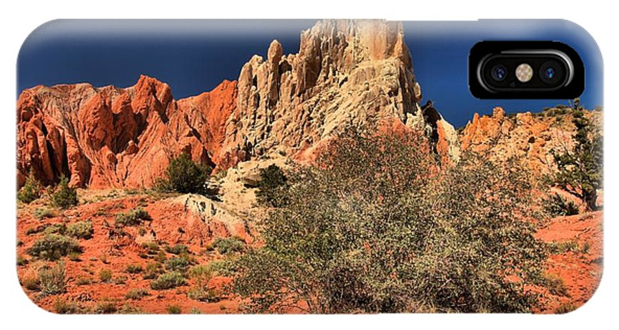 Cottonwood Road IPhone X Case featuring the photograph Red And White Desert Towers by Adam Jewell
