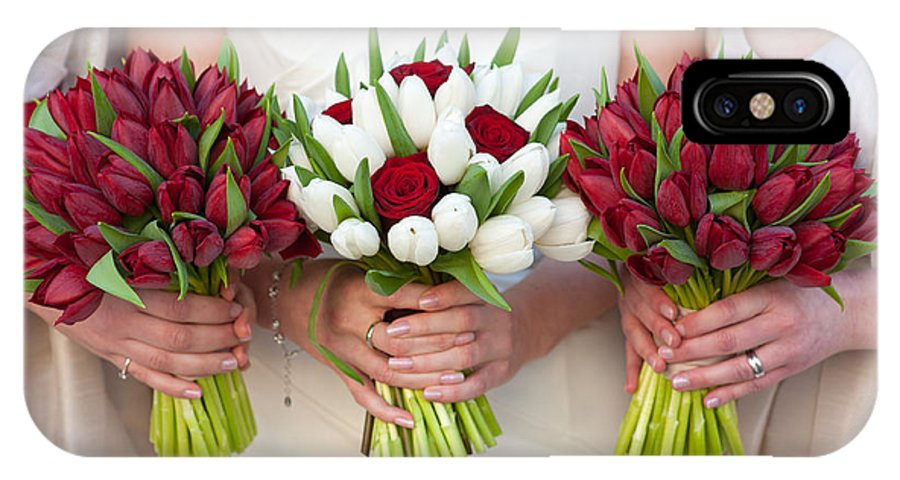 Bouquet IPhone X Case featuring the photograph Red And White Tulip And Rose Wedding Bouquets by Lee Avison