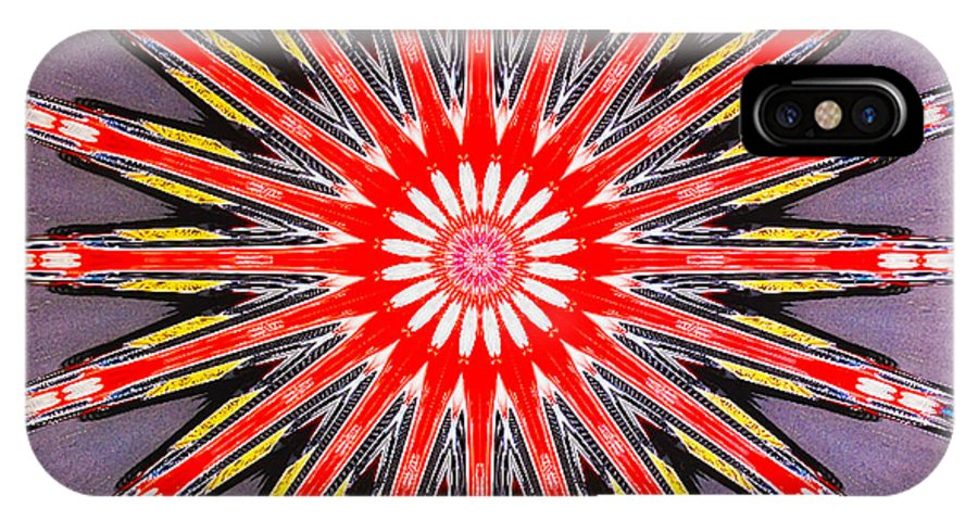 Barbara Snyder IPhone X Case featuring the digital art Red Arrow Abstract by Barbara Snyder