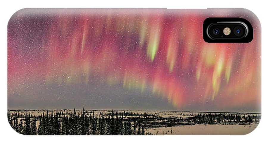 Arcturus IPhone X Case featuring the photograph Red Aurora Panorama 1 Feb 12, 2016 by Alan Dyer