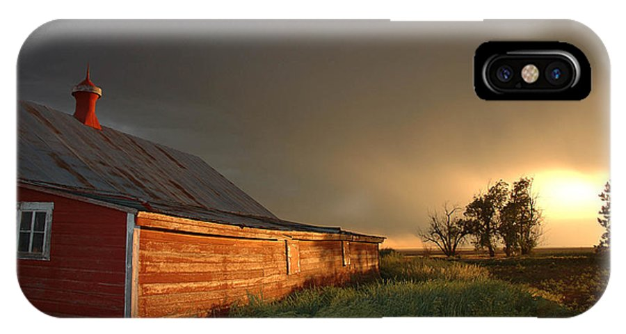 Barn IPhone X Case featuring the photograph Red Barn at Sundown by Jerry McElroy