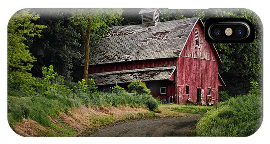 Red Barn IPhone X Case featuring the photograph Red Barn - County Road by Nikolyn McDonald