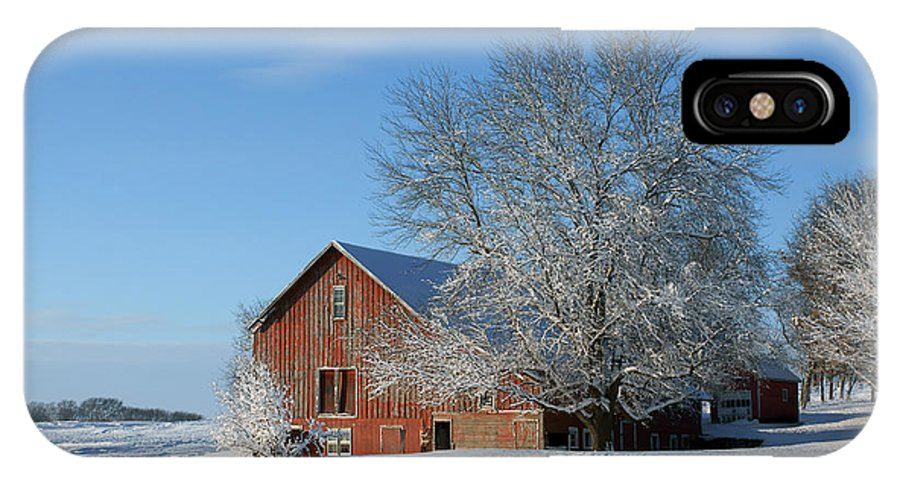 Red Barn IPhone X Case featuring the photograph Red Barn In Snow by Nikolyn McDonald