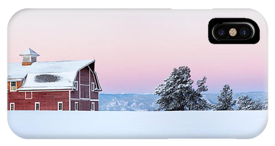 Barn IPhone X Case featuring the photograph Red Barn In The Snow by Ronda Kimbrow