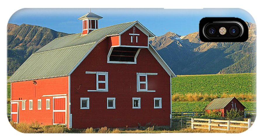 Fall Colors IPhone X Case featuring the photograph Dn5939-red Barn In The Wallowas by Ed Cooper Photography
