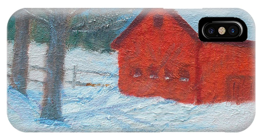 Red IPhone X / XS Case featuring the painting Red Barn In Winter by Claire Norris