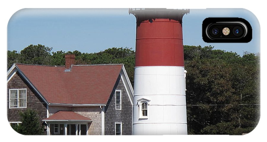 Lighthouse IPhone X Case featuring the photograph Red Beacon On Nauset Light by Barbara McDevitt