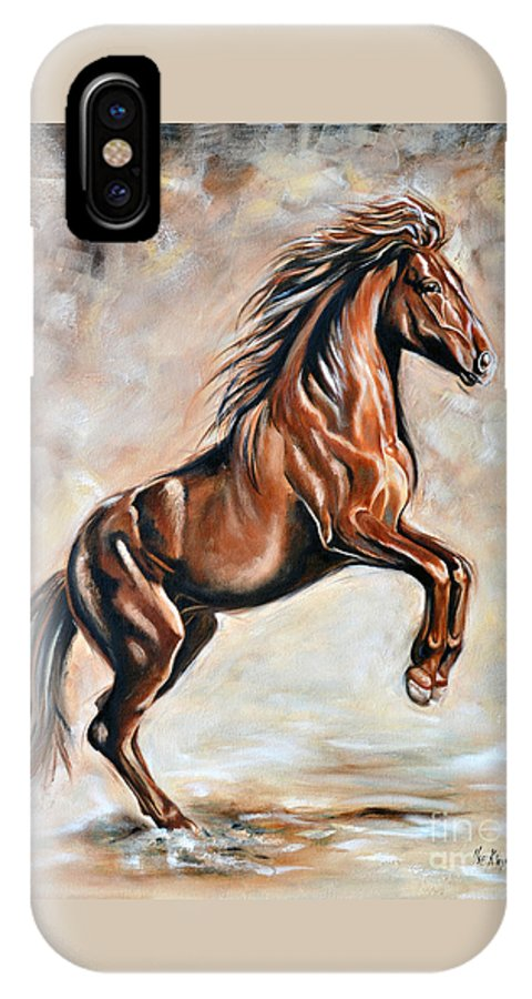 Horse IPhone X Case featuring the painting Red Beauty by Ilse Kleyn