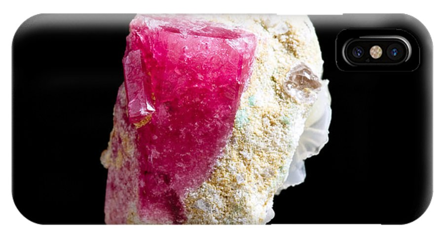 Beryl IPhone X Case featuring the photograph Red Beryl Crystal On Matrix by Shawn Hempel