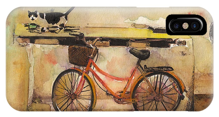 Painting  IPhone X / XS Case featuring the painting Red Bicycle And Cat by Susan Powell