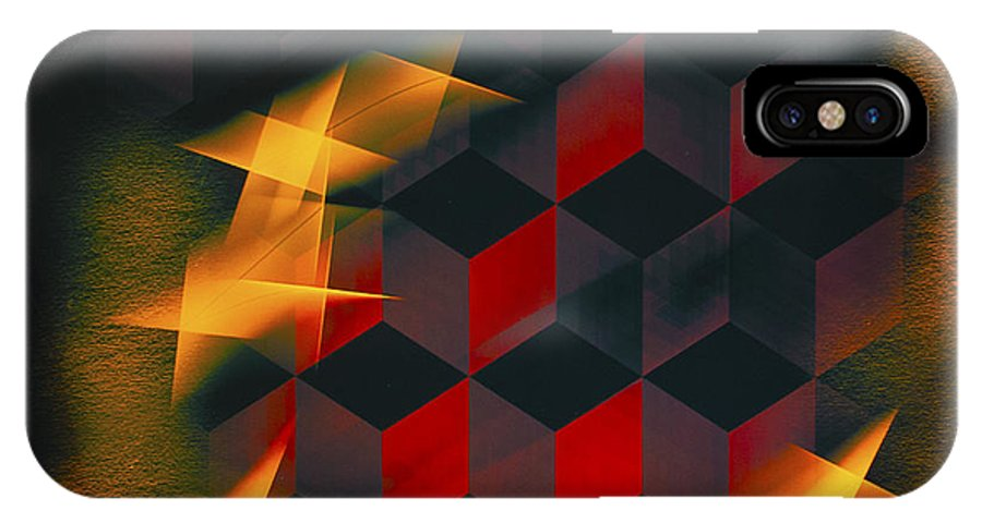 Barbara Snyder IPhone X Case featuring the digital art Red Black Blocks Abstract by Barbara Snyder