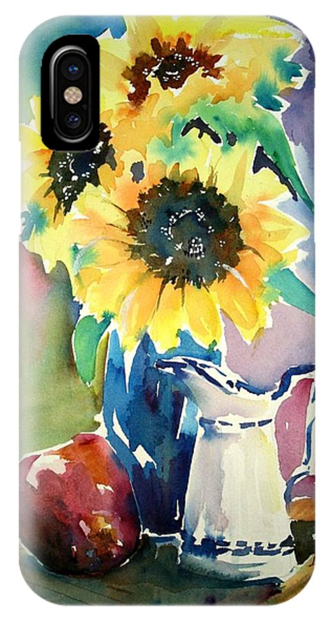 Still Life IPhone X Case featuring the painting Red Blue And Yellow by Diane Wallace