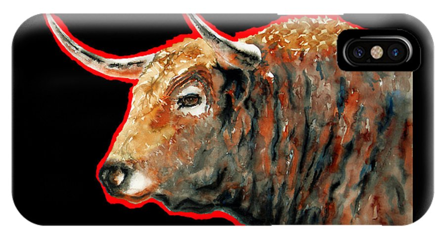 Red Fight Bull IPhone X Case featuring the painting R E D . B U L L . In Black II by J - O  N  E