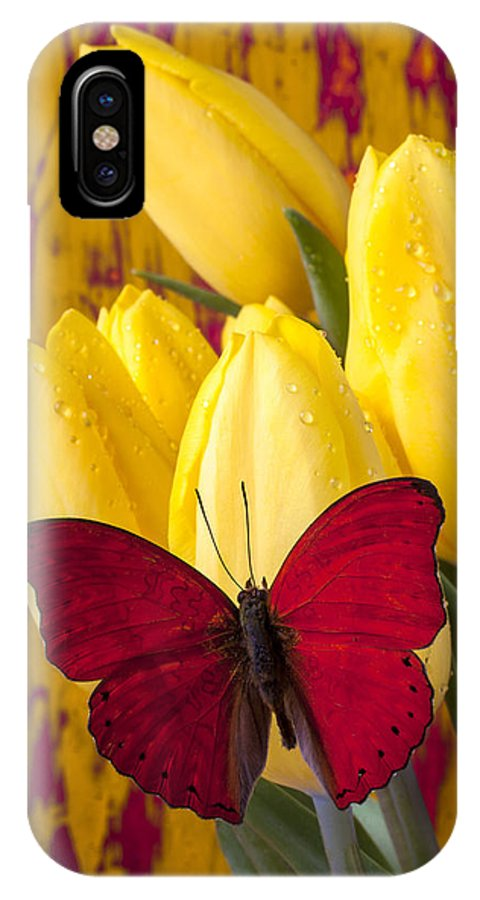 Red IPhone X Case featuring the photograph Red Butterfly Resting On Tulips by Garry Gay