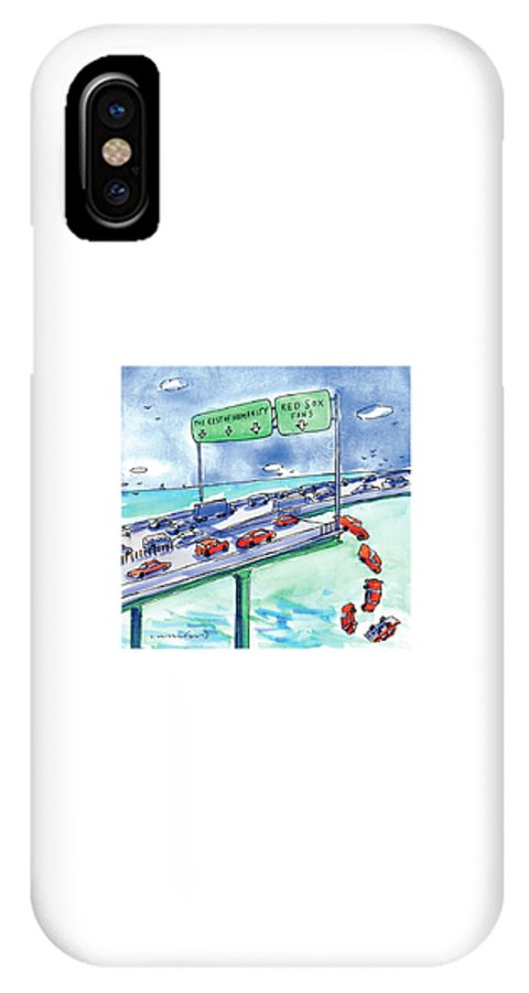 Red Sox IPhone X Case featuring the drawing Red Cars Drop Off A Bridge Under A Sign That Says by Michael Crawford