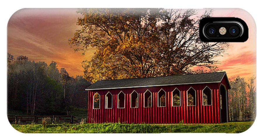 Appalachia IPhone X Case featuring the photograph Red Covered Bridge by Debra and Dave Vanderlaan